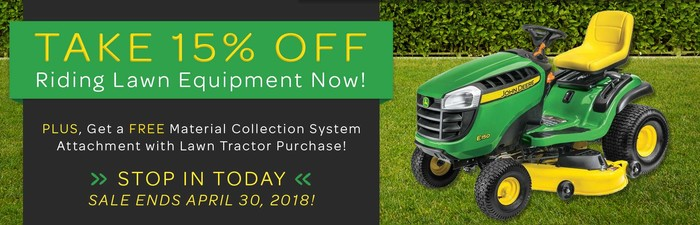 15% Off Riding Lawn Equipment