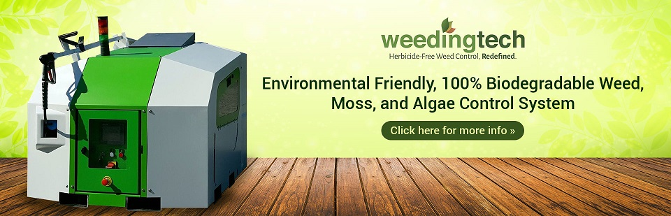 Weedingtech is an environmental friendly, 100% biodegradable weed, moss, and algae control system. Click here for more information.