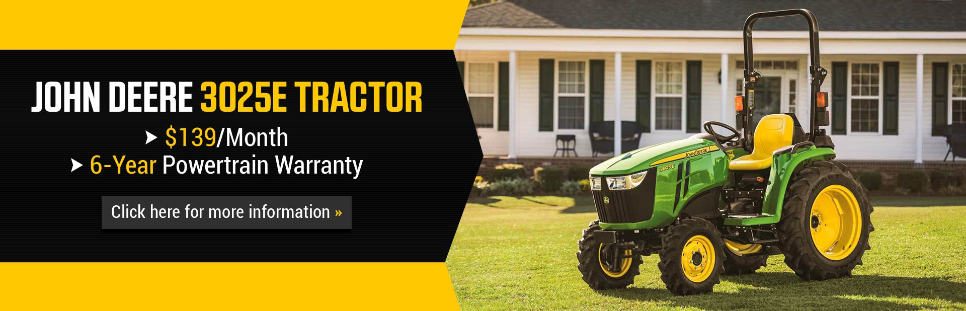 John Deere 3025E Tractor: Click here for more information.