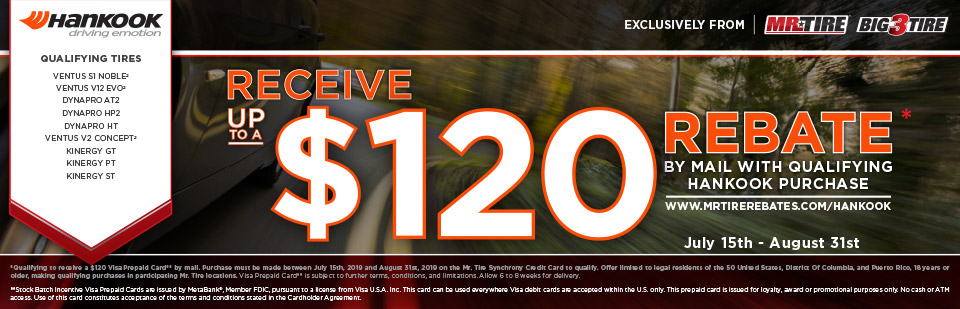 Hankook up to a $120 Rebate