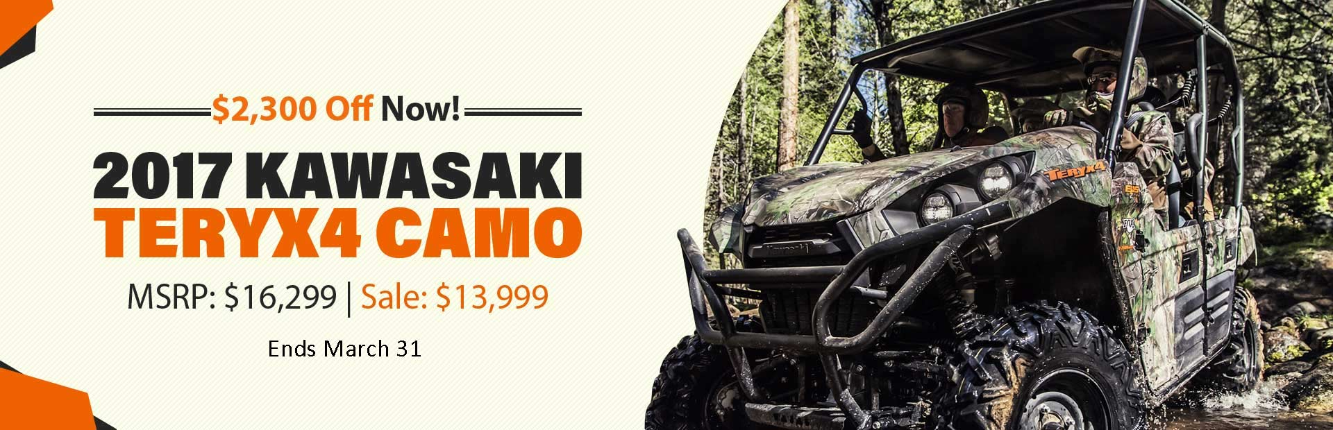 Get $1,300 off the 2017 Kawasaki Teryx4 Camo! This offer ends September 30th.