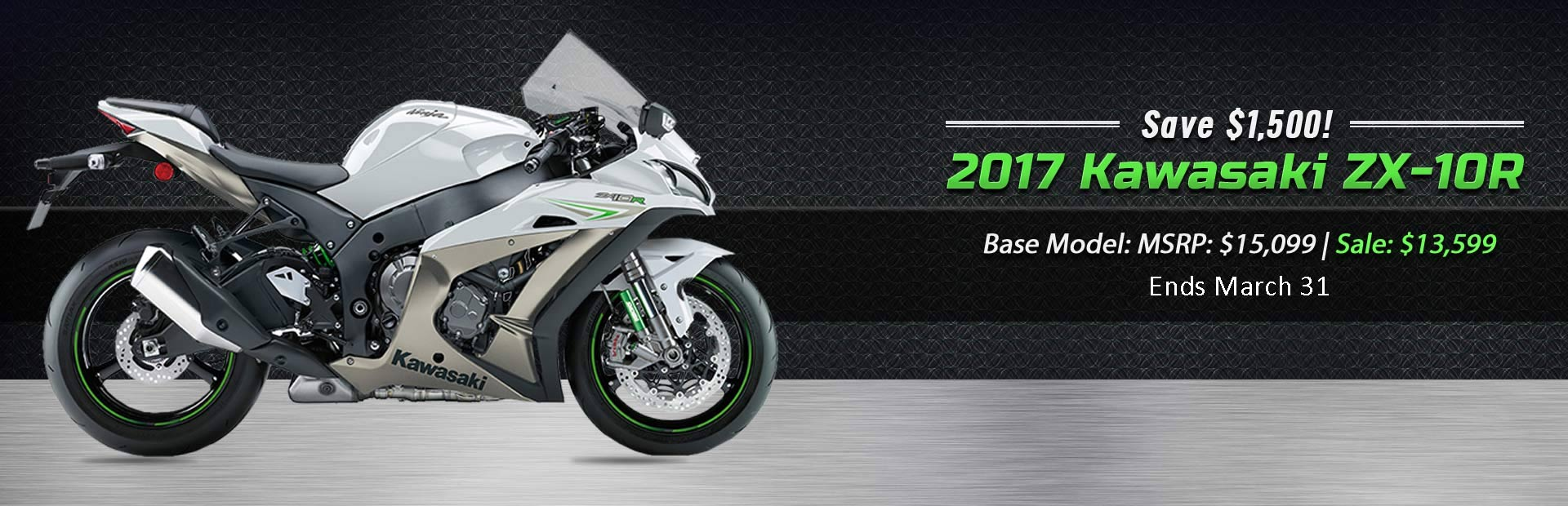 Save $1,500 on the 2017 Kawasaki ZX-10R!