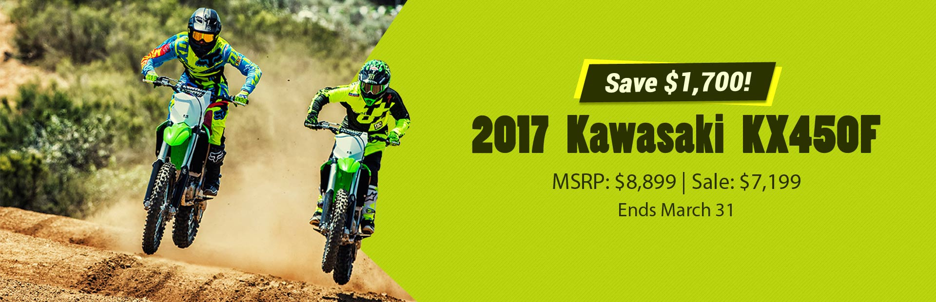 Save $1,700 on the 2017 Kawasaki KX450 F!