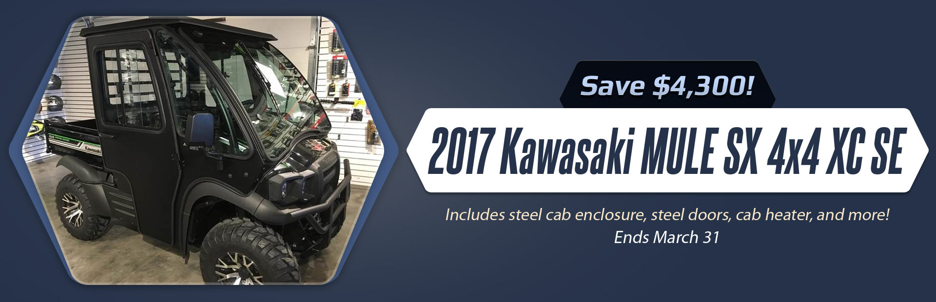 Save $4,300 on the 2017 Kawasaki MULE SX 4x4 XC SE!