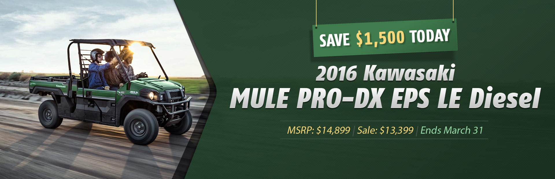Save $1,500 today on the 2016 Kawasaki MULE PRO-DX EPS LE Diesel!