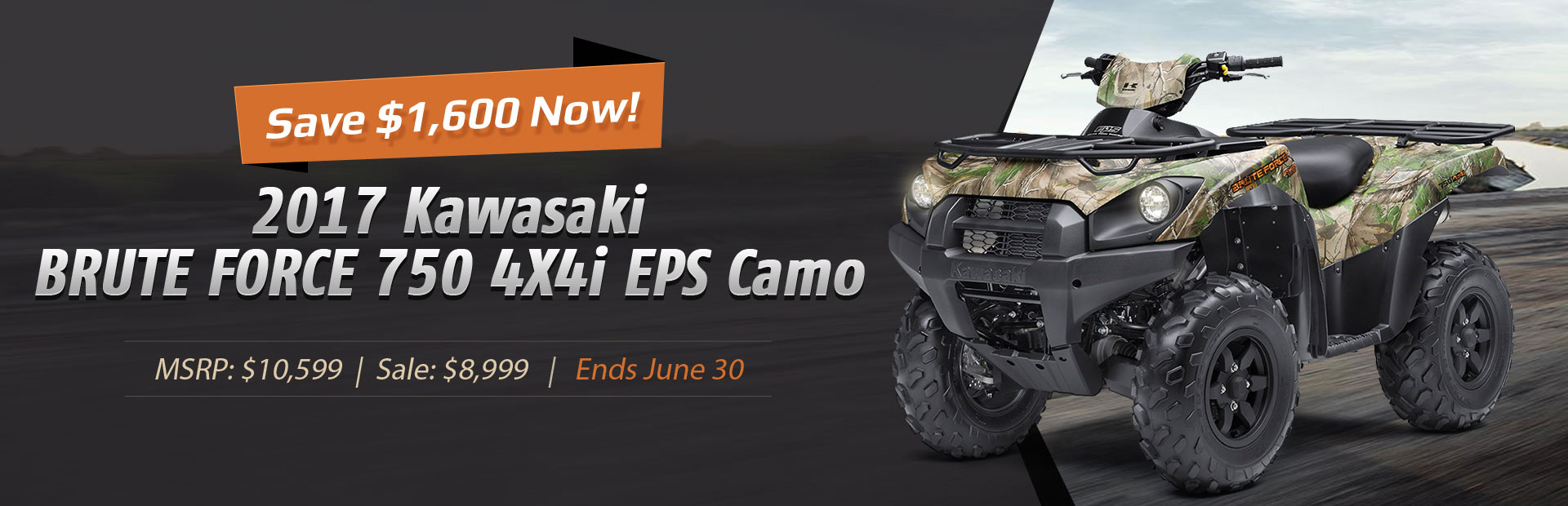Save $1,600 now on the 2017 Kawasaki BRUTE FORCE 750 4X4i EPS Camo!