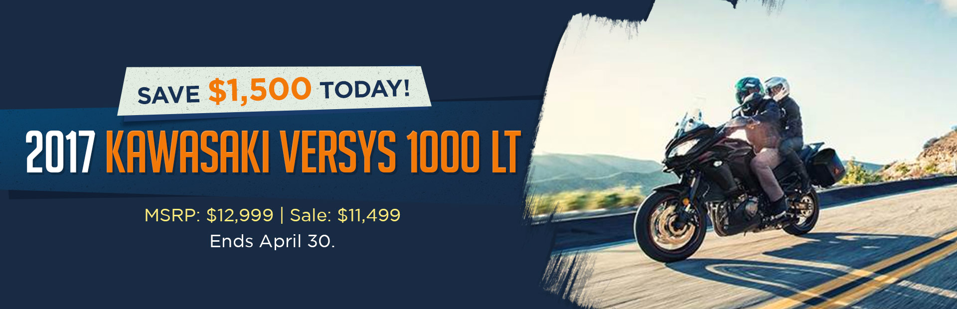 Save $1,500 on the 2017 Kawasaki Versys 1000 LT!