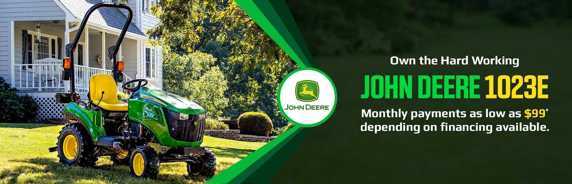 Own the hard working John Deere 1023E! Get monthly payments as low as $99* depending on financing available.