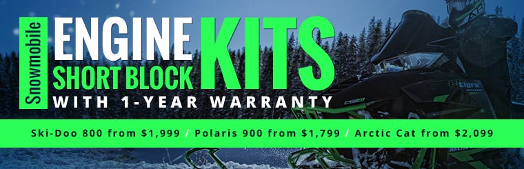 Snowmobile Engine Short Block Kits with 1-Year Warranty: Click here for details.