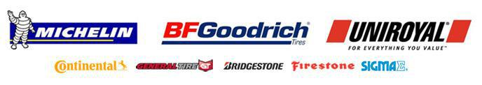 We proudly offer products from: Michelin®, BFGoodrich®, Uniroyal®, Continental, General, Bridgestone, Firestone, and Sigma.