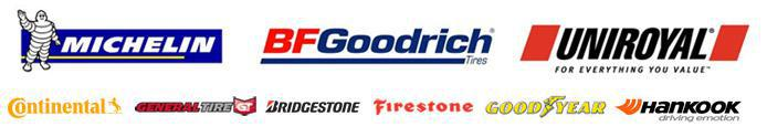 We proudly offer products from: Michelin®, BFGoodrich®, Uniroyal®, Continental, General, Bridgestone, Firestone, Goodyear, and Hankook.