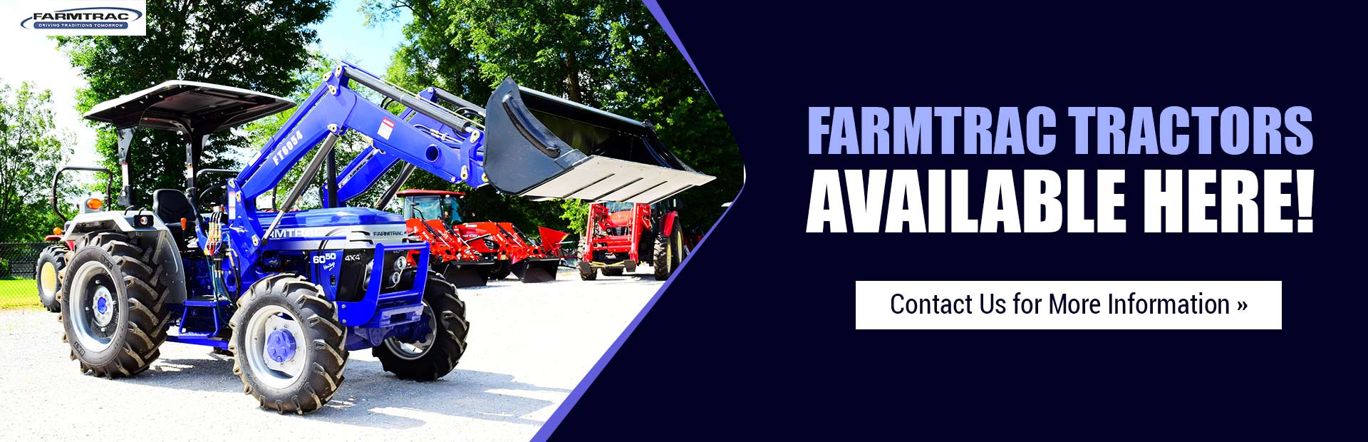Farmtrac tractors are available here! Contact us for more information.