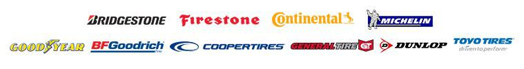 We carry products from Michelin®, BFGoodrich®, Uniroyal®, Bridgestone, Goodyear, Dunlop, Cooper, Continental, General, Toyo, and Firestone.