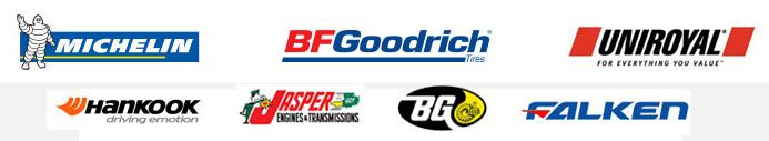 We are proud to carry Michelin®, BFGoodrich®, Uniroyal®, Hankook, Jasper, BG, and Falken.