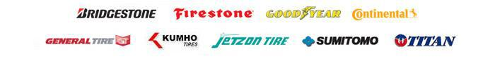 We carry products from Bridgestone, Firestone, Goodyear, Continental, General, Kumho, Jetzon, Sumitomo, and Titan.
