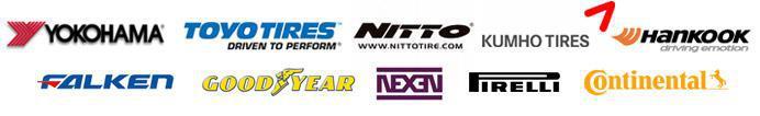 We carry products from Yokohama, Toyo, Nitto, Kumho, Hankook, Falken, Goodyear, Nexen, Pirelli, and Continental.