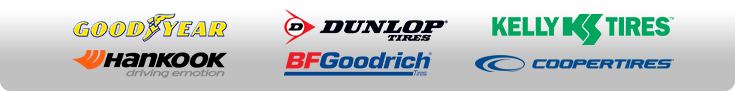We proudly offer products from Goodyear, Kelly, Dunlop, BFGoodrich®, Cooper, and Hankook.