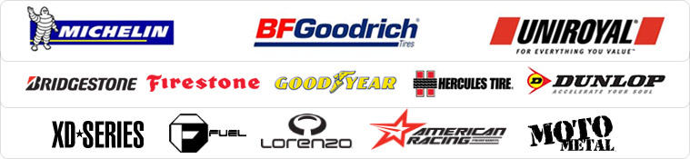 We are proud to carry Michelin®, BFGoodrich®, Uniroyal®, Bridgestone, Firestone, Goodyear, http://waynestirecenter.com/, Dunlop, XD Series, Fuel, Lorenzo, American Racing, and Moto Metal.