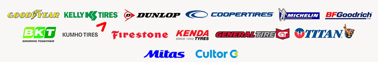We carry products from Goodyear, Kelly, Dunlop, Cooper, Michelin®, BFGoodrich®, BKT, Kumho, Firestone, Kenda, General, Titan, Mitas, and Cultor.