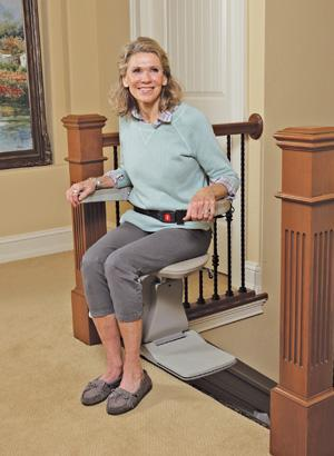 The Elan's seat swivels at top of the stairs for an easy exit.