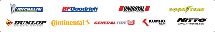 We proudly carry products from Michelin®, BFGoodrich®, Uniroyal®, Goodyear, Dunlop, Continental, General, Kumho, and Nitto.