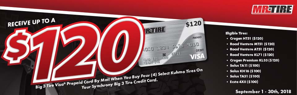 Receive up to $120 gift cart with purchase of Select Kumho Tires. Click for details.