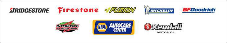 We proudly carry products from Bridgestone, Firestone, Fuzion, Michelin®, BFGoodrich®, Interstate Batteries, and Kendall. NAPA.