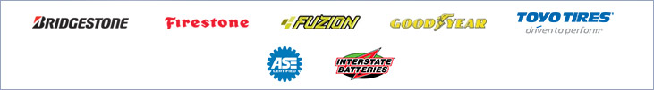 We carry products by Bridgestone, Firestone, Fuzion, Goodyear, Toyo, and Interstate Batteries. We are also ASE certified.