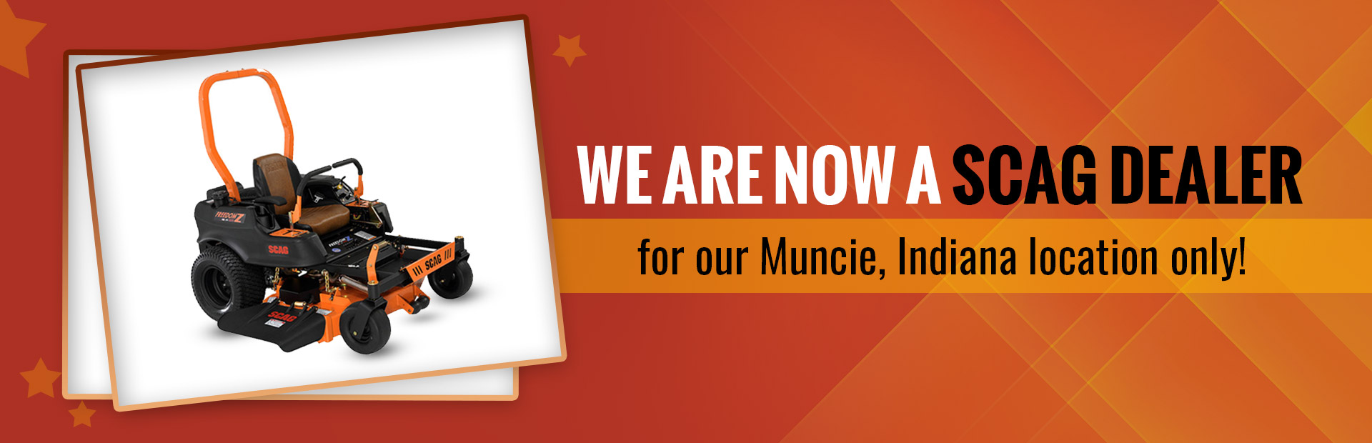New SCAG dealer for Muncie, Indiana. Come visit us today!
