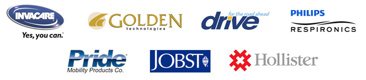 We carry products from Invacare, Golden Technologies, Drive, Philips, Pride, Jobst, and Hollister.