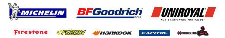We proudly carry products from Michelin®, BFGoodrich®, Uniroyal®, Firestone, Fuzion, Hancook, Capitol, and Hercules.
