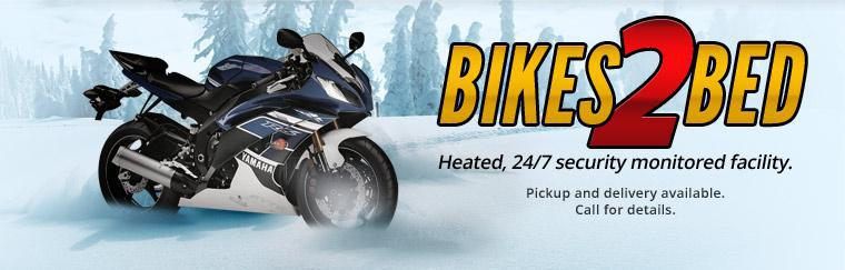 Bikes 2 Bed: Heated, 24/7 security monitored facility. Pickup and delivery available. Click here to contact us.