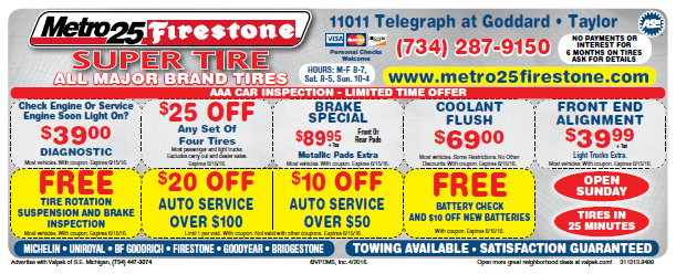 Front End Alignment Coupons >> Coupons Metro 25 Firestone