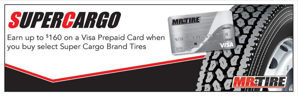 Receive up to a $160 Visa Prepaid Card when you buy select Super Cargo Tires
