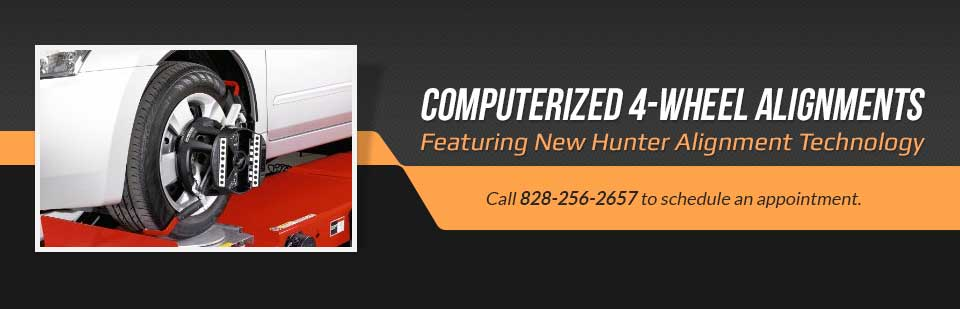 Computerized 4-Wheel Alignments Featuring New Hunter Alignment Technology: Call (828) 256-2657 to schedule an appointment.