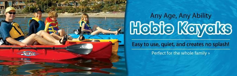 Hobie Kayaks are easy to use, quiet, and create no splash! They are perfect for the whole family! Click here to browse.