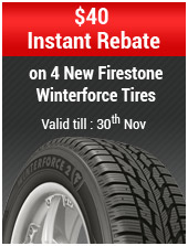$40 Instant Rebate on 4 New Firestone Winterforce Tires