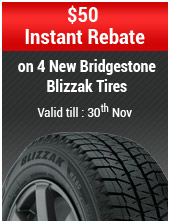 $50 Instant Rebate on 4 New Bridgestone Blizzak Tires