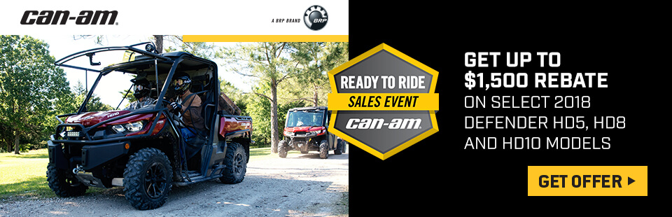 Get up to $1500 rebate on select Can-Am models.