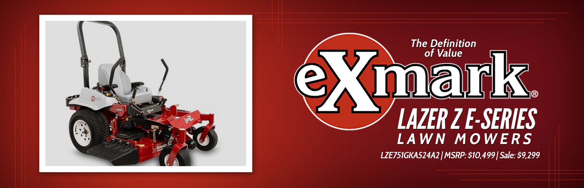 Exmark Lazer Z E-Series Lawn Mowers: Click here to view the models.