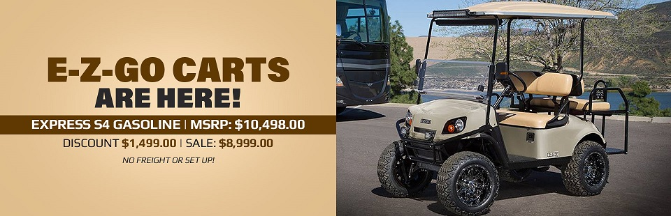 E-Z-GO carts are here! The Express S4 - Gas is on sale for $8,999.00! Click here to view the model.