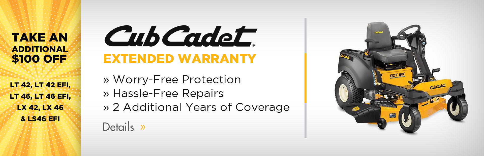Cub Cadet Extended Warranty: Click here for details.