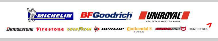 We proudly carry products by Michelin®, BFGoodrich®, Uniroyal®, Bridgestone, Firestone, Goodyear, Dunlop, Continental, General, and Kumho.