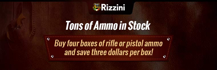 We have tons of ammo in stock! Buy 4 boxes of rifle or pistol ammo and save $3 dollars per box!