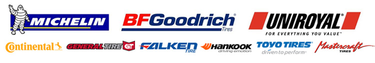 We carry products from Michelin®, BFGoodrich®, Uniroyal®, Continental, General Tire, Falken, Hankook, Toyo and Mastercraft Tires.