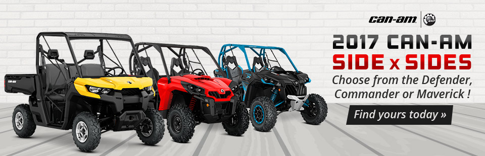 2017 Can-Am Side x Sides: Choose from the Defender, Commander, or Maverick!