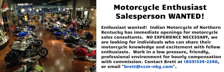Motorcycle Enthusiast Sales Person Wanted