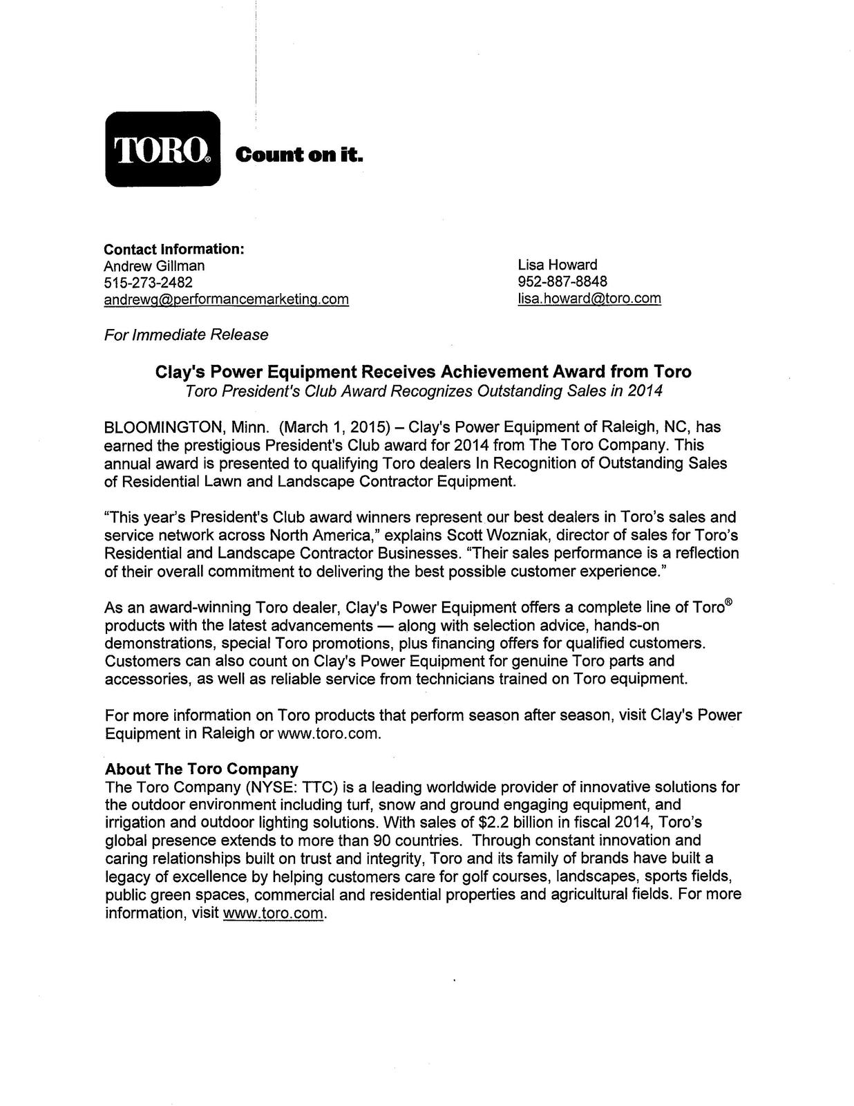 2014 Toro President's Club Award Press Release