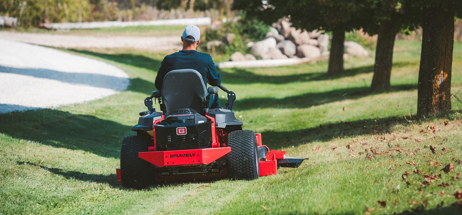 Man Riding Gravely® Zero-Turn Lawn Mower