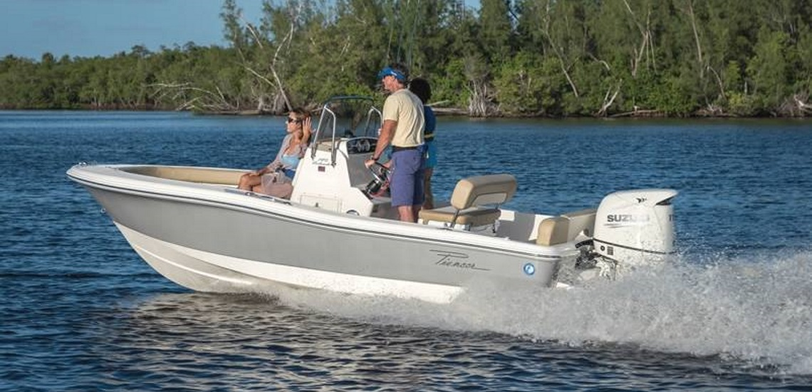 A family on a 2019 Pioneer Boats Islander 180 boat